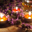 Tea candles and lavender — Stock Photo #4319386