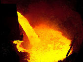Liquid metal from blast furnace — Stock Photo