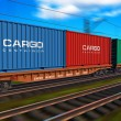 Freight train with cargo containers - Stok fotoğraf