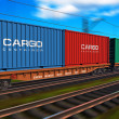 Freight train with cargo containers - Zdjęcie stockowe