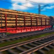 Foto Stock: Freight train with lumber