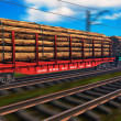 Freight train with lumber — Stock Photo
