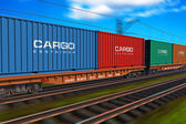 Freight train with cargo containers — Stock Photo