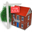 "For sale"" sign in front of new house - Stock Photo"