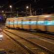 Commuter train with motion blur - 图库照片