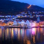 Evening panorama of Bergen, Norway — Stock Photo