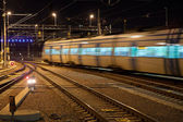 Commuter train with motion blur — Stock Photo