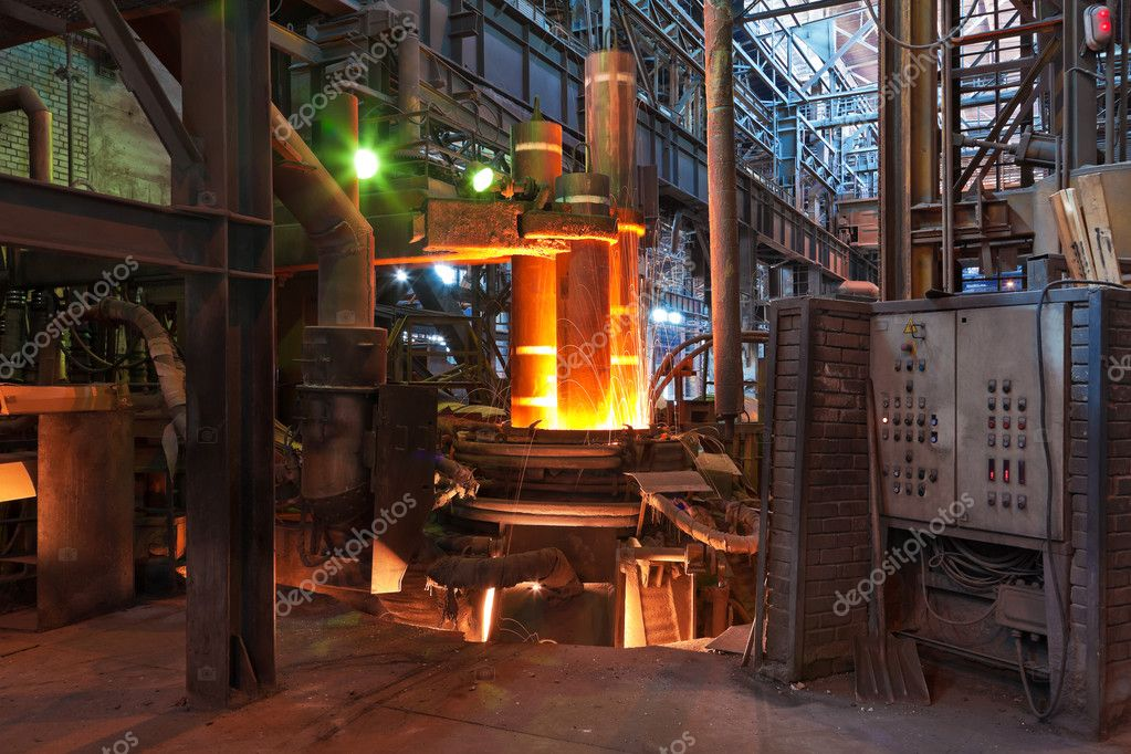 Electroarc furnace at metallurgical plant  Stock Photo #4358062