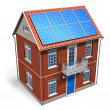 House with solar batteries on the roof — Stok fotoğraf