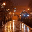 Night decorated alley in the city park — Stock Photo