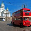 Red english bus in Helsinki, Finland - Stockfoto