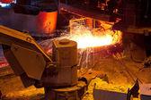 Liquid metal from blast furnace — Stock Photo