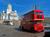 Red english bus in Helsinki, Finland — Stock Photo