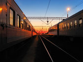 Early morning at the railroad station — Stock Photo