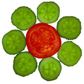 Flower from sliced tomato and cucumber — Stock Photo
