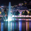 Night pond with fountain in Bergen, Norway - Foto Stock