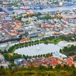 Aerial panorama of Bergen, Norway — Stock Photo