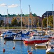 Docked yachts in the center of Helsinki, Finland - Stock Photo