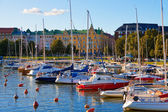 Docked yachts in the center of Helsinki, Finland — Stock Photo