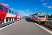 Passenger trains in Helsinki, Finland — Stock Photo