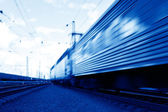 Blue speed train in motion concept — Stock Photo