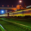 Railway station at night - Stock Photo