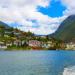 Stock Photo: Mountain village in fjords, Norway