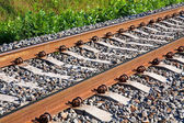 Railroad track fragment — Stock Photo