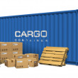 Cardboard boxes and cargo container — Stock Photo