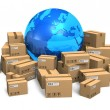 Cardboard boxes and Earth globe - Foto de Stock  