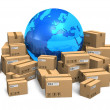 Cardboard boxes and Earth globe - Stok fotoğraf