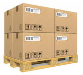 Cardboard boxes on pallet — Stock Photo