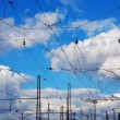 Railroad catenary — Stockfoto