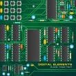 Circuit board with microchips — Imagen vectorial