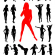 Girl silhouettes collection — Image vectorielle