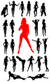Girl silhouettes collection — Stock Vector