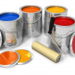 Stock Photo: Cans with color paint and roller brush
