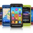 Set of touchscreen smartphones - Foto Stock
