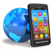Stock Photo: Touchscreen smartphone with Earth globe