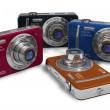 Set of color compact digital cameras - 图库照片
