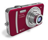 Red compact digital camera — Stock Photo
