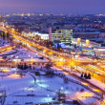 Night winter panorama of Minsk, Belarus — Stock Photo