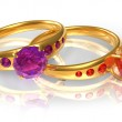 Golden wedding rings with jewels — Stock Photo