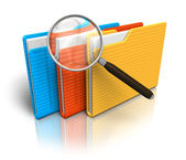 File search concept: folders and magnifying glass — 图库照片