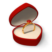 Heart-shape box with golden ring with jewels — Stock Photo
