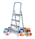 Stepladder with cans of color paint — Stock Photo