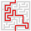 Stock Vector: Solved labyrinth