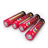Four AA batteries — Stock Photo
