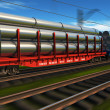 High speed freight train with metal pipes — Stock Photo #4746427