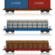 Set of freight railroad cars — Stock Photo